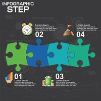 4 steps puzzle infographic  vector