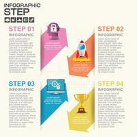 Infografía de 4 pasos con flechas coloridas en rendijas vector