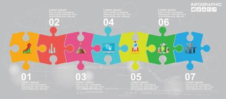 Puzzle business presentation infographic with 7 steps