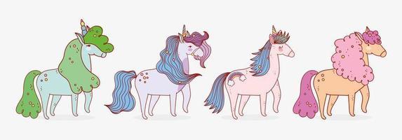Four cute unicorns pack