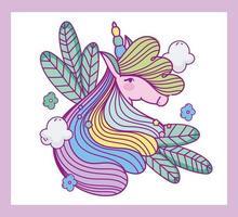 plantilla de tarjeta de cabeza de unicornio de fantasía