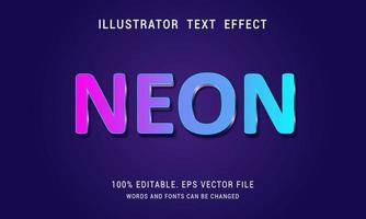 efecto de texto de neón degradado rosa a cian vector