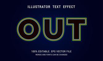 Red, Green and Blue Outline Text Effect With Black Fill vector