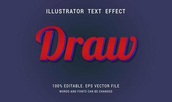 Dark Red With Blue Edges Draw Text Effect vector