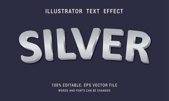 design de efeito de texto prateado brilhante curvo vetor