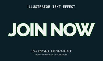 Bold White With Shiny Green Outline Join Now Text Effect vector