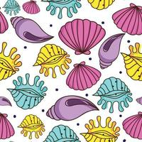 Hand drawn seashells pattern vector