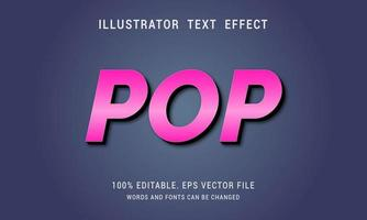 rosa metalizado con efecto de texto emergente de sombra negra vector