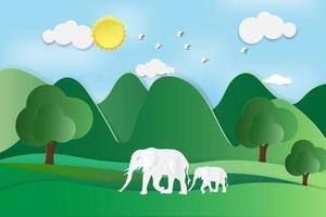 diseño del día mundial de la vida silvestre con elefantes en el bosque vector