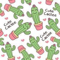 Hand drawn cactus pattern vector