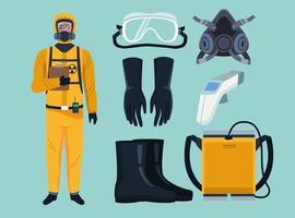 trabajador de bioseguridad con elementos de equipo para protección covid-19