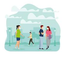 Group People Wearing Medical Masks in the Park vector