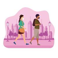 Couple Using Medical Masks Characters in the Park Urban Scene vector