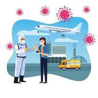 trabajador de bioseguridad revisando la temperatura en el aeropuerto para covid 19 vector