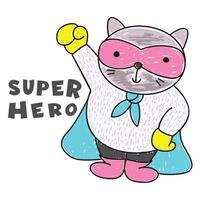 Cat superhero hand drawn