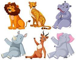 conjunto de animales de zoológico sentado