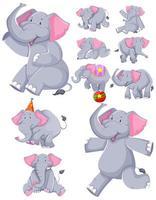 Set of dancing elephant cartoons
