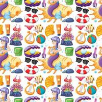 Seamless mermaid and summer icons characters vector