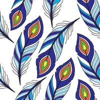 Seamless pattern with peacock feather vector