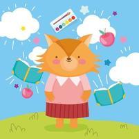 Teenage fox with school materials outdoors vector