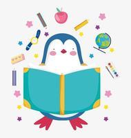 pequeño pingüino con material escolar vector