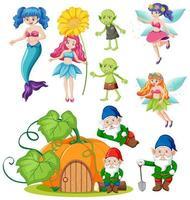 Set of fantasy folk cartoon character  vector