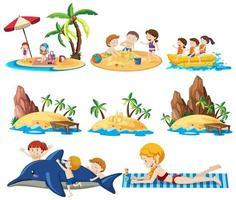 Conjunto de actividades de playa de verano sobre fondo blanco.