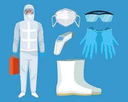 médicos con equipos de bioseguridad para protección covid-19