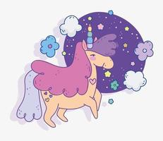 Cute unicorn at night vector