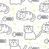 Seamless pattern with cat and fish
