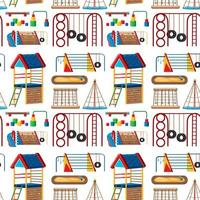 Set of kids playground in the park seamless vector