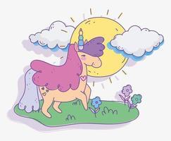 felice unicorno all'aperto