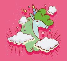 linda cabeza de unicornio verde vector