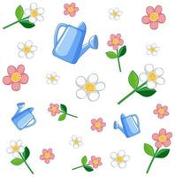 Set of flowers and watering can vector