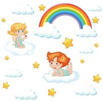 Cute angels with rainbow and stars