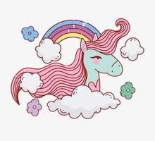 cabeza de unicornio de fantasía con arcoiris