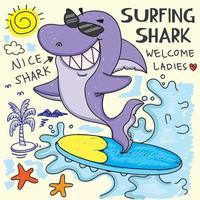 Hand drawn Surfing shark vector