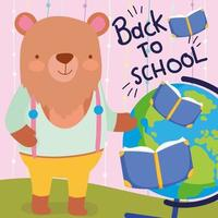Back to School bear teacher with books and globe