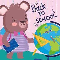 Little bear going to school vector