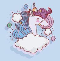 linda plantilla de tarjeta de cabeza de unicornio azul