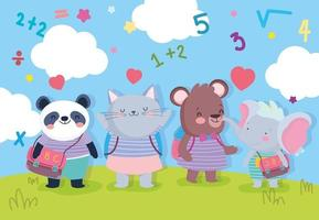Cute student animals hanging outdoors vector