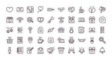 Set of line work Valentine's Day icons vector