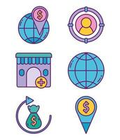 Pack of business marketing icons vector