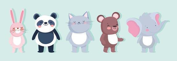 Cute animal characters set vector