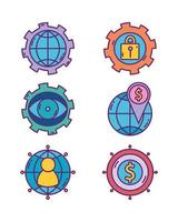 Business strategy and digital marketing icons set vector