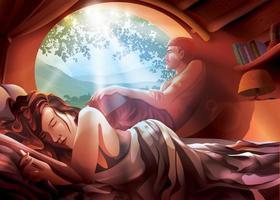 um casal em uma casa na montanha vetor