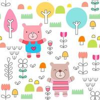 Childish pattern with cute baby bear