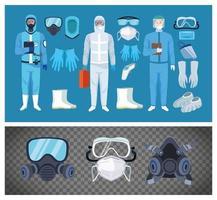 trabajadores de bioseguridad con equipo para protección covid-19 vector