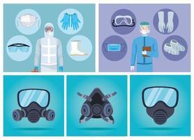 trabajadores de bioseguridad con elementos de equipo para protección covid-19