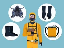trabajador de bioseguridad con equipo para protección covid-19